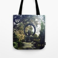 buddah Tote Bags featuring buddah by xtinawicki