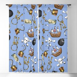 Swashbuckling Pirate Pattern on Blue Blackout Curtain