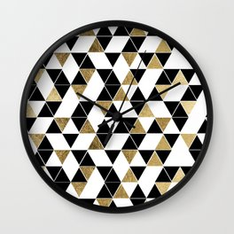 Modern Black, White, and Faux Gold Triangles Wall Clock
