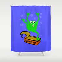 frog Shower Curtains featuring Frog by mailboxdisco