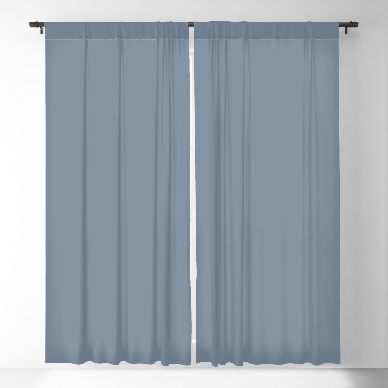 Slate Grey Plain Color Blackout Curtain