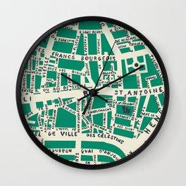 PARIS MAP GREEN Wall Clock