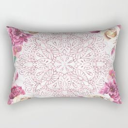 Rose Gold Mandala Garden on Marble Rectangular Pillow