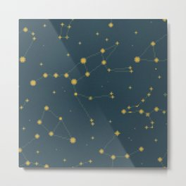 Constellation Pattern (Antique Gold) Metal Print