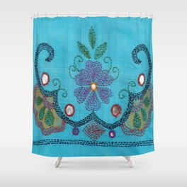 Kantha Fabric Art On Turquoise Pure Silk Shower Curtain
