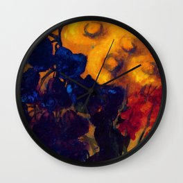Petunias, Sunflowers, and Red Poppies Floral Still Life by Emil Nolde Wall Clock