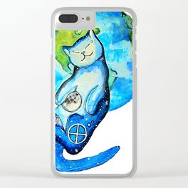 Earth Cat Clear iPhone Case