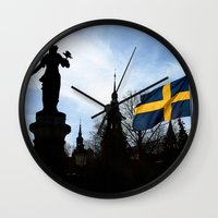 stockholm Wall Clocks featuring Stockholm by Mark Hill