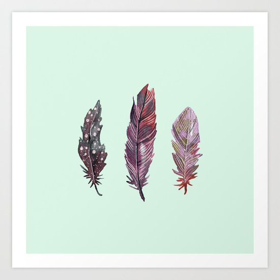 watercolor feathers (mint green) dos Art Print