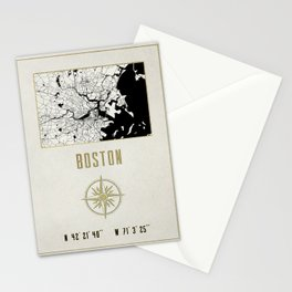 Boston - Vintage Map and Location Stationery Cards