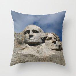 George Washington And Thomas Jefferson  - Mount Rushmore Throw Pillow
