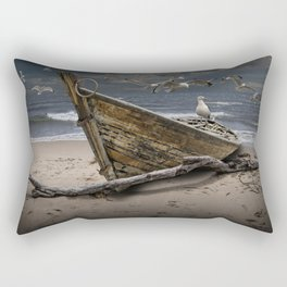 Gulls Flying over a Shipwrecked Wooden Boat Rectangular Pillow
