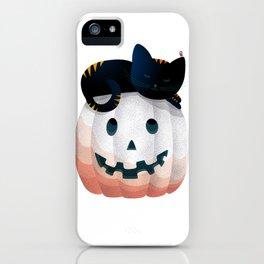 065 - tired kitty on the Halloween pumkpin iPhone Case