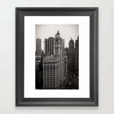 Wrigley Building Chicago Black and White Photo Framed Art Print