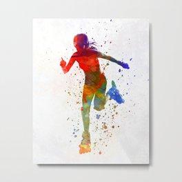 Woman in roller skates 12 in watercolor Metal Print