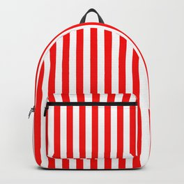 Original Berry Red and White Rustic Vertical Tent Stripes Backpack