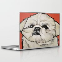 shih tzu Laptop & iPad Skins featuring Waffles the Shih Tzu by Cheney Beshara