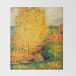 Classical Masterpiece 'By the Stream - Autumn' by Paul Gauguin Throw Blanket