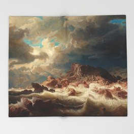 Marcus Larson - Stormy Sea With Ship Wreck Throw Blanket
