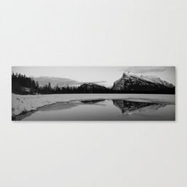 Banff Alberta, Rundle Mountain in  BLACK AND WHITE Canvas Print