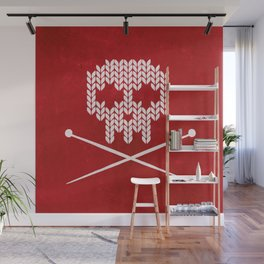Knitted Skull / Knitting with Attitude (white on red) Wall Mural