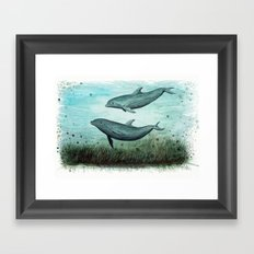 Two Inshore Dolphins ~ Watercolor Framed Art Print
