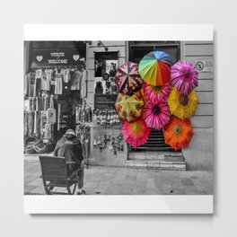 Umbrellas with accent Metal Print