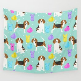 Beagle marshmallow peeps candy spring easter treat tradition for dog lovers Wall Tapestry