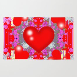 Grey Red Hearts Valentines & Pink Flowers Patterns Rug