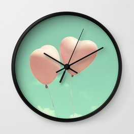 Close Love, Pink heart balloons on soft blue sky Wall Clock