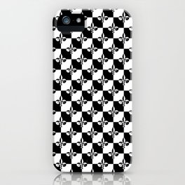 Black and White Checkerboard Checked Squares with French Fleur de Lis iPhone Case