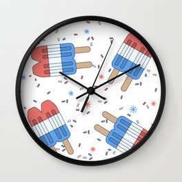 Rocket Pop; Red White and Blue Popsicle 4th of July Patriotic USA Pattern w/ Stars & Sprinkles Wall Clock