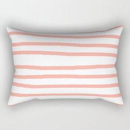Simply Drawn Stripes Salmon Pink on White Rectangular Pillow