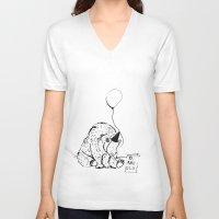 birthday V-neck T-shirts featuring Birthday by Emily Stalley