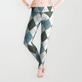 Blue & Dark Blue: Argyle Pattern Leggings