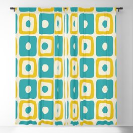 Mid Century Modern Square Dot Pattern 771 Turquoise and Yellow Blackout Curtain