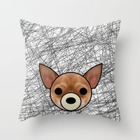 chihuahua Throw Pillows featuring Chihuahua by lllg