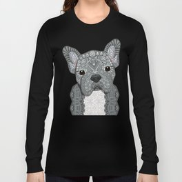 Gray Frenchie 001 Long Sleeve T-shirt