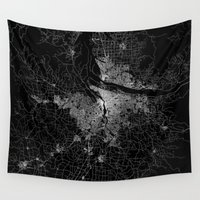 portland Wall Tapestries featuring portland map by Line Line Lines