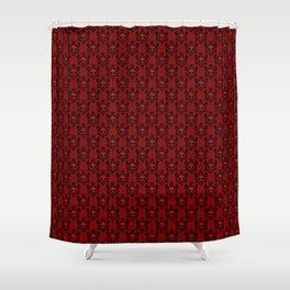 Halloween Damask Red Shower Curtain