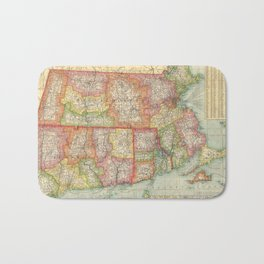 Vintage Map of New England States (1900) Bath Mat