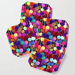 Rainbow Pom-poms (Vertical) Coaster