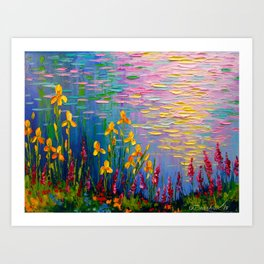 Flowers by the pond Art Print