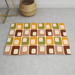 Retro 70s rounded capsules check orange brown geometrics Rug