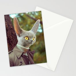 Alien Spy Cat in a Trench Coat Stationery Cards