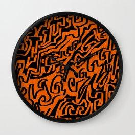 Laberinto ocre black Wall Clock