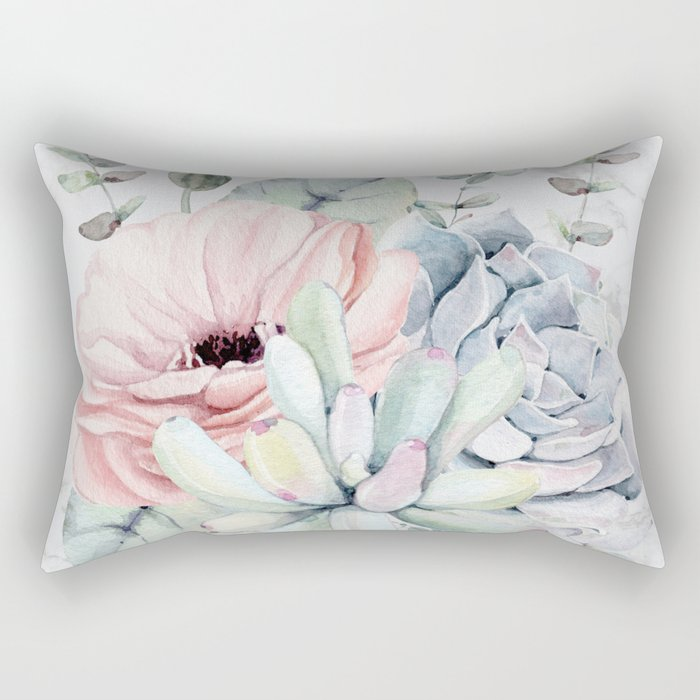 Pretty Succulents on Marble by Nature Magick Rectangular Pillow