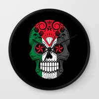 palestine Wall Clocks featuring Sugar Skull with Roses and Flag of Palestine by Jeff Bartels