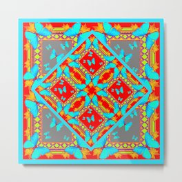 Decorative Western Style Red Patterns & Turquoise Butterflies Metal Print