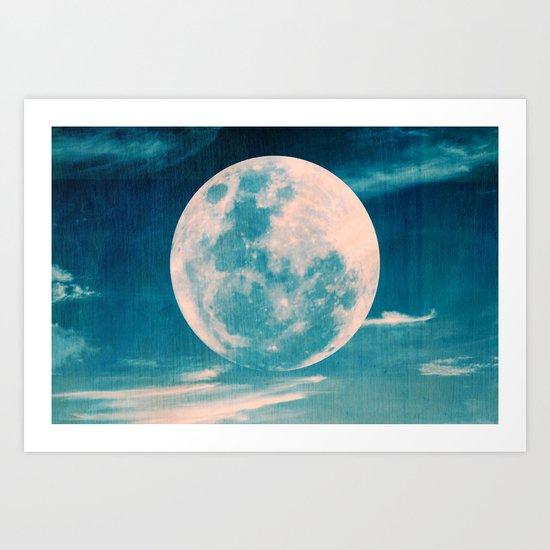 Full moon - Blue Art Print